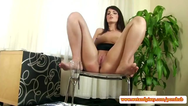 Solo goldenshower babe toying her pussy - 15