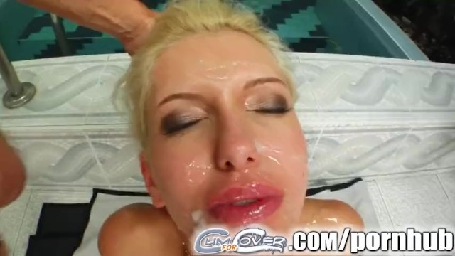 Cum For Cover Blonde slut services multiple cock with her mouth - 16