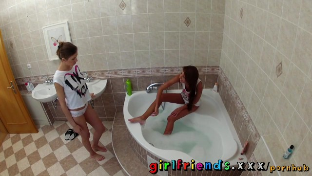 Girlfriends wash hair in bath and make hot pussy eating sextape - 1