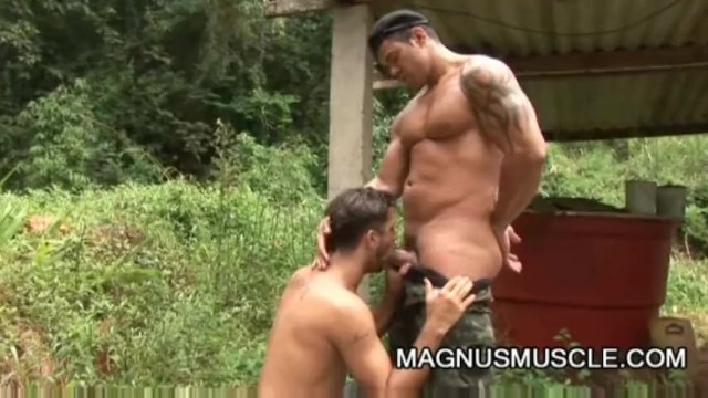 Yuri Bryan and Junior Pavanello: Military Muscle Guys Outdoor Sex - 2
