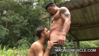 Yuri Bryan and Junior Pavanello: Military Muscle Guys Outdoor Sex Hung doggy