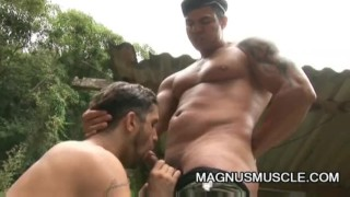 Yuri Bryan and Junior Pavanello: Military Muscle Guys Outdoor Sex Men ass