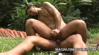 Yuri Bryan and Junior Pavanello: Military Muscle Guys Outdoor Sex Latin straight