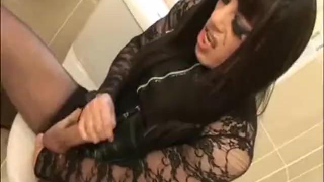 Crossdresser Zoe wanks her massive wet 9 inch big cock in the bathroom - 13