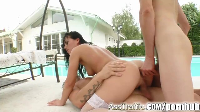 Ass Traffic Chick gets her ass trained by 2 well hung guys - 12