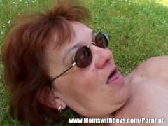 Granny With Huge Ass Gets Boy Hard