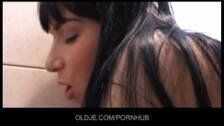 A fucks bath young brunette in older her plumber doggystyle old