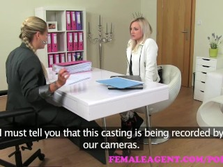 FemaleAgent. Sexy slim blonde is deliciously horny