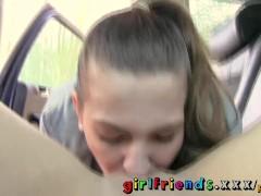 Girlfriends Lesbians make hot sextape in a car