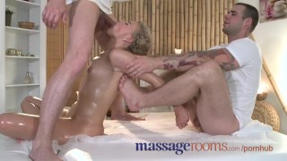 Massage Rooms Tight girls holes stretched after sucking big dicks