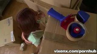 vixenx Hot Latina Katia finds a cock in a box