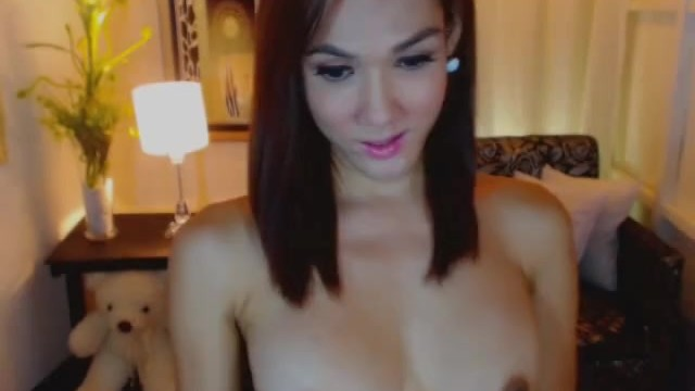 Hot Shemale Strokes Her Cock Until She Cums
