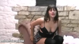 Sexy college girl strips down to her leather lingerie and plays with whip
