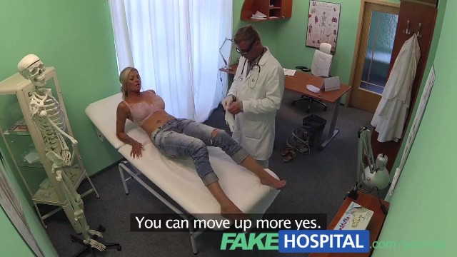 Patient lies naked Fakehospital doctor probes patients pussy with his cock