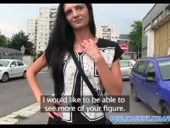PublicAgent Laura straight brunette haired fucked outdoors in the rain