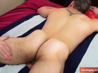 French straight firefighter get wanked his big cock by a guy.