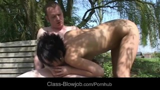 Sexy short haired brunette blowing horny backyard