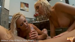 Hotties Jessica Lynn and Nikita Von James sharing cock