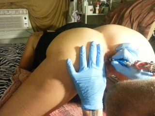 Preview 3 of Butthole Tattoo - Lydia Getting Butthole Tattooed