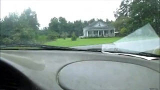 Screen Capture of Video Titled: giving hubby a Hand job in the car while driving big cumshot at the end