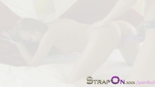 StrapOn Long purple strapon dildo squeezed into her pussy