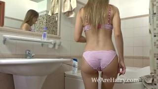 Her sana pleasure in hairy bathroom vixen finds hairy hairy