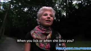 Screen Capture of Video Titled: PublicAgent Blonde lesbian learns how to suck on a big dick