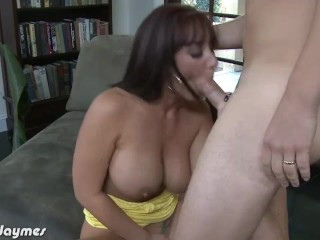 Brunette Jayden Jaymes blowing a big dick