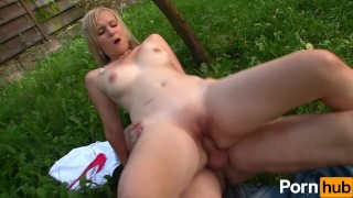 Nailed outside tiny gets chick euro blowjob blonde