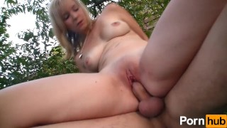 Tiny euro chick gets nailed outside