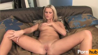 Blonde babe with huge tits cums using her huge dildo