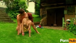 Redhead gets fucked on the lawn