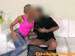 FakeAgent Horny Blonde amateur sucks and fucks in Office
