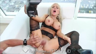 Blonde black creampied milf puremature sexy lingerie get in puremature big