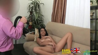 Wanks sucks cock fucks agent dwarf fakeagentuk hottie and californian latina couch