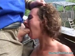 Curly German whore has all holes fucked