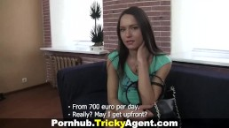 Tricky Agent - Young brunette looks great in the sunlight!