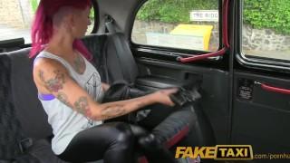 Black faketaxi punk in rock cab chick sex cumshot in