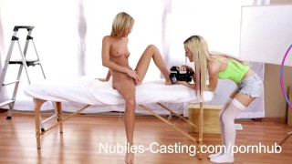 Preview 4 of Cute blonde teen swaps cum with casting agent