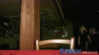 Czech Blonde fucks for cash in restaurant toilets