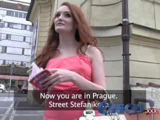 Czech Hot redhead fucks guy hard in car park for cash