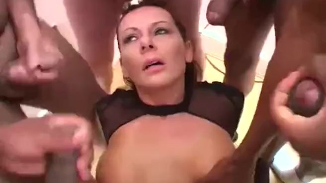 Carly g adult Bukkake party for english brunette milf carly g
