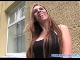 PublicAgent She spreads open her pussy lips and fucks for cash