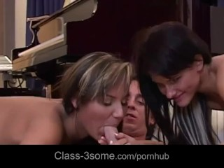 Romantic boy made two cute chick horny to fuck him in threesome
