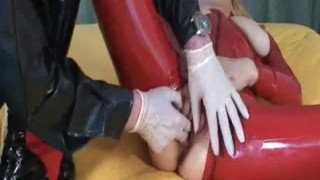 Blond slave fisted and fucked with a wine bottle