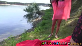 Preview 6 of Girlfriends Hot black haired babe eats pussy in public forest