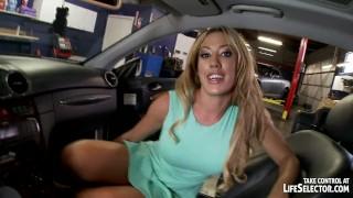 Babes sexy mechanic car horny fucks creampie 3some