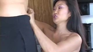 A suave moans on asian while large cock hottie riding throat fucking