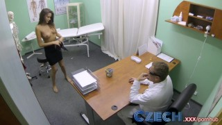 Screen Capture of Video Titled: Czech Doctor makes sexy patient with amazing tits squirt for the first time