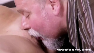 Elena can't believe how good this old man is at having sex Latina transsexual